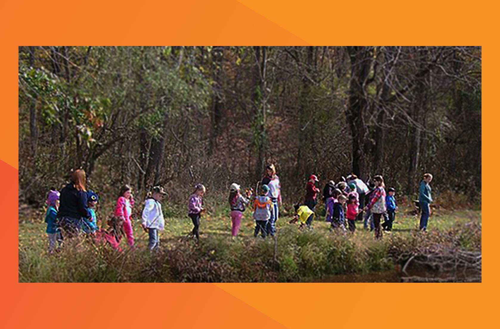 Chemours Washington Works team took 65 first graders to a local nature trail for a day of exploration and education