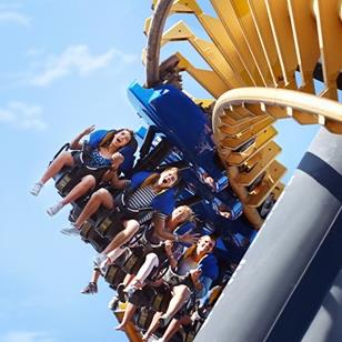 people riding a hang down roller coaster
