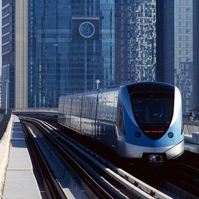 metro train on tracks in dubai