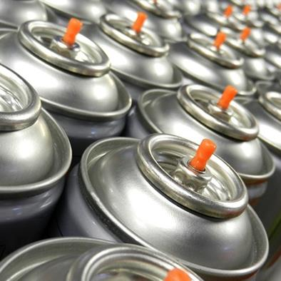 large group of silver aerosol cans