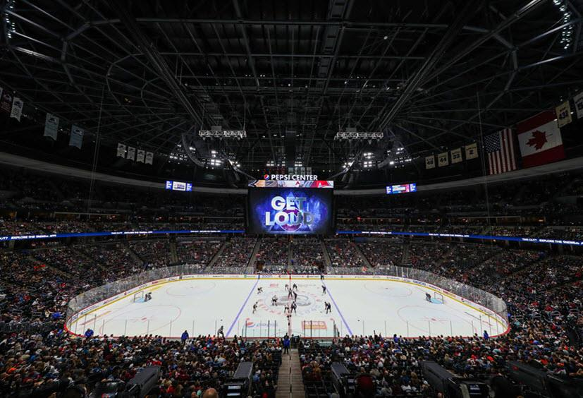 An image of the Colorado Avalanche Pepsi Center hockey rink.