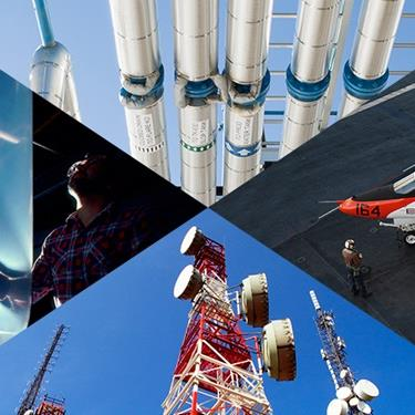 collage of images of pipes military plane cell tower and blown plastics